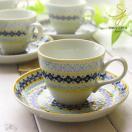 美しいボレスワヴィエツの街 メリーイエローフローレット コーヒーカップ&ソーサー (ポタリー風,ポタリーフィールド)