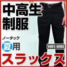 学生服 ズボン 中学生 高校生 中高生 制服 スラックス ノータック ワンタック 夏用 W61-W85 全国標準型学生服