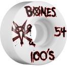 スケボー スケートボード ウィール BONES ボーンズ OG 54mm 100A V1 白ベース 黒赤文字