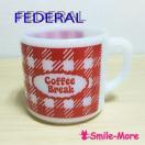 FEDERALフェデラル ネームマグCoffeeBreakコーヒーブレイク チェック柄 ミルクガラス・マグカップ