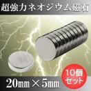 ネオジム磁石 ネオジウム磁石 10個セット 20mm×5mm 丸型 超強力...