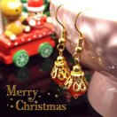 天然石 パワーストーン ピアス カーネリアン Happy Xmas クリスマス きらきら 大人可愛い