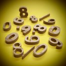 木製切文字 数字 栗2.5cmの木の文字