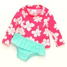 カーターズCarter'sキッズラッシュガード水着Tシャツ長袖タイプスイムウェア・スイムショーツ上下セット花蛍光ピンク
