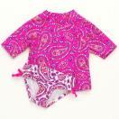 カーターズCarter'sキッズラッシュガード水着Tシャツ半袖タイプスイムウェア・スイムショーツ上下セットペイズリーピンク