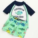 カーターズCarter'sキッズラッシュガード水着Tシャツ半袖タイプスイムウェア・スイムパンツ上下セット熱帯魚白×紺
