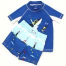 カーターズCarter'sキッズラッシュガード水着Tシャツ半袖タイプスイムウェア・スイムパンツ上下セットダイバーとサメブルー