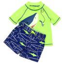 カーターズCarter'sキッズラッシュガード水着Tシャツ半袖タイプスイムウェア・スイムパンツ上下セットサメ蛍光イエロー×ブルー