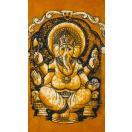 小サイズ バティック染めのタペストリー風神様布 ガネーシャ 約50x85cm / 壁掛けアジアン インテリア エスニック インド 壁飾り