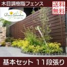 樹脂フェンス|アルファウッド 横張りタイプ(幅120mm) 【基本セット(長さ2m)】11段張り