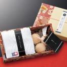 ◆ついで買いセール◆ 日本製 和を感じるギフトセット。今治ハンドタオル+天然ヒノキ製ボール3個組 化粧箱入り プレゼント 粗品 景品等に ■■ ◇ 檜ボール