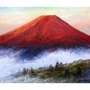 絵画 油絵 肉筆絵画 壁掛け ( 油絵額縁 アートフレーム付きで納品対応可 )「赤富士2」 小川 久雄