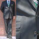 春夏 メンズ スーツ 2パンツ 3つボタン 黒 ストライプ 1509 OXFORD CLASSIC 英国調 チェンジポケット付き