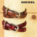 ディーゼル DIESEL レザーブレスレット メンズ レディース 男女兼用 ヴィンテージ加工 クラック加工 二重巻き 牛革 本革 型押し ABASICS