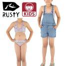 RUSTY3点セットキッズ水着130-160cm女の子用デニム風サロペット付き体型カバー967803PNK