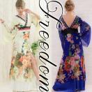 花魁 コスプレ 衣装 花魁ドレス 着物ドレス セクシー おいらん 激安 セール フラワーシフォンロング着物ドレス フリーサイズ