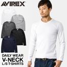 AVIREX アビレックス アヴィレックス 長袖 Vネック Tシャツ メンズ 長袖 ロンT インナー 無地 トップス ミリタリー 6153480