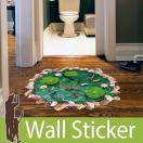 トリックアート ウォールステッカー トリック 魚 池の鯉 床用 ウォールステッカー 木 ウォールステッカー トイレ 植物 グリーン