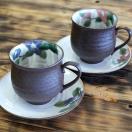 結婚祝いプレゼント 九谷焼 ペア コーヒーカップ 椿