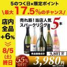 スパークリングワインセット シャンパン製法入り!神の雫掲載&7ツ星ホテル採用など破格のスパークリングワイン5本セット 第8弾 parkling wine set