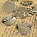 台座付きブローチピン 10個 中 平 2.5cm 25mm コサージュピン ブローチ台 ブローチ金具 ピン付き 台付き シルバー silver 銀