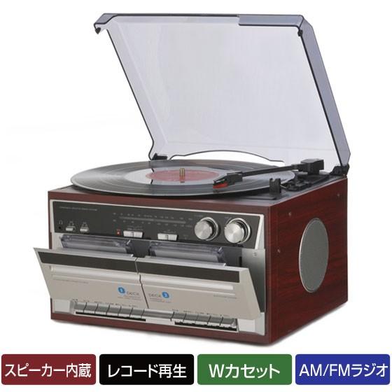 ダブルカセット レコードプレーヤー 木目調 AM/FMラジオ  TT-386W