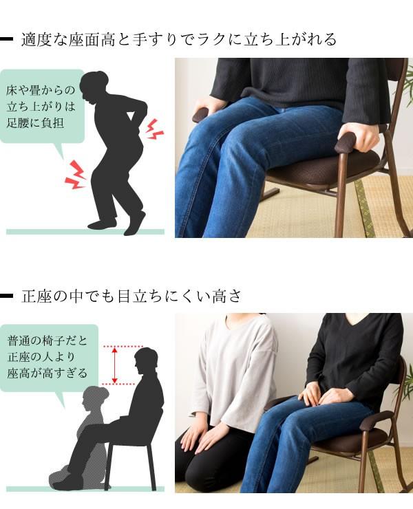 【2脚】 木目調コンパクト高座椅子 W560×D520×H590×SH310mm YS-1200の商品画像 3