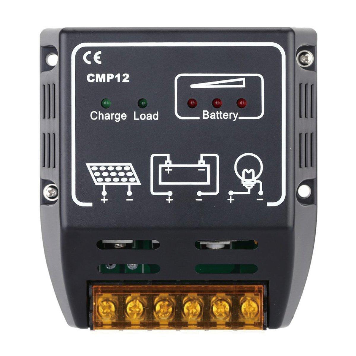 CURE(キュア) チャージコントローラー ソーラーパネル 10A 12V/24V ソーラーチャージャーコントローラー ソーラーチャージコントローラー 充放電 コンデン