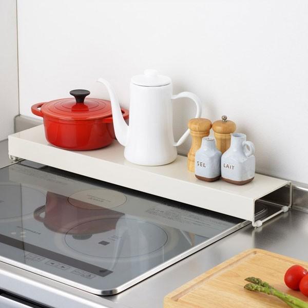 コンロ奥カバーラック キッチン 台所 収納用品 排気口カバー グリル 排気口 油ハネ 幅66cm - エイムキューブ画像3