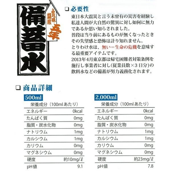 ソーケンビバレッジ 備蓄水 賞味5年 2L × 12本 ペットボトルの商品画像 4