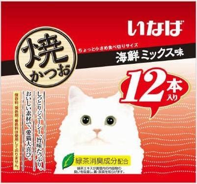 いなば 焼かつお 猫用 海鮮ミックス味 QSC-22(12本入)×12個の商品画像|2