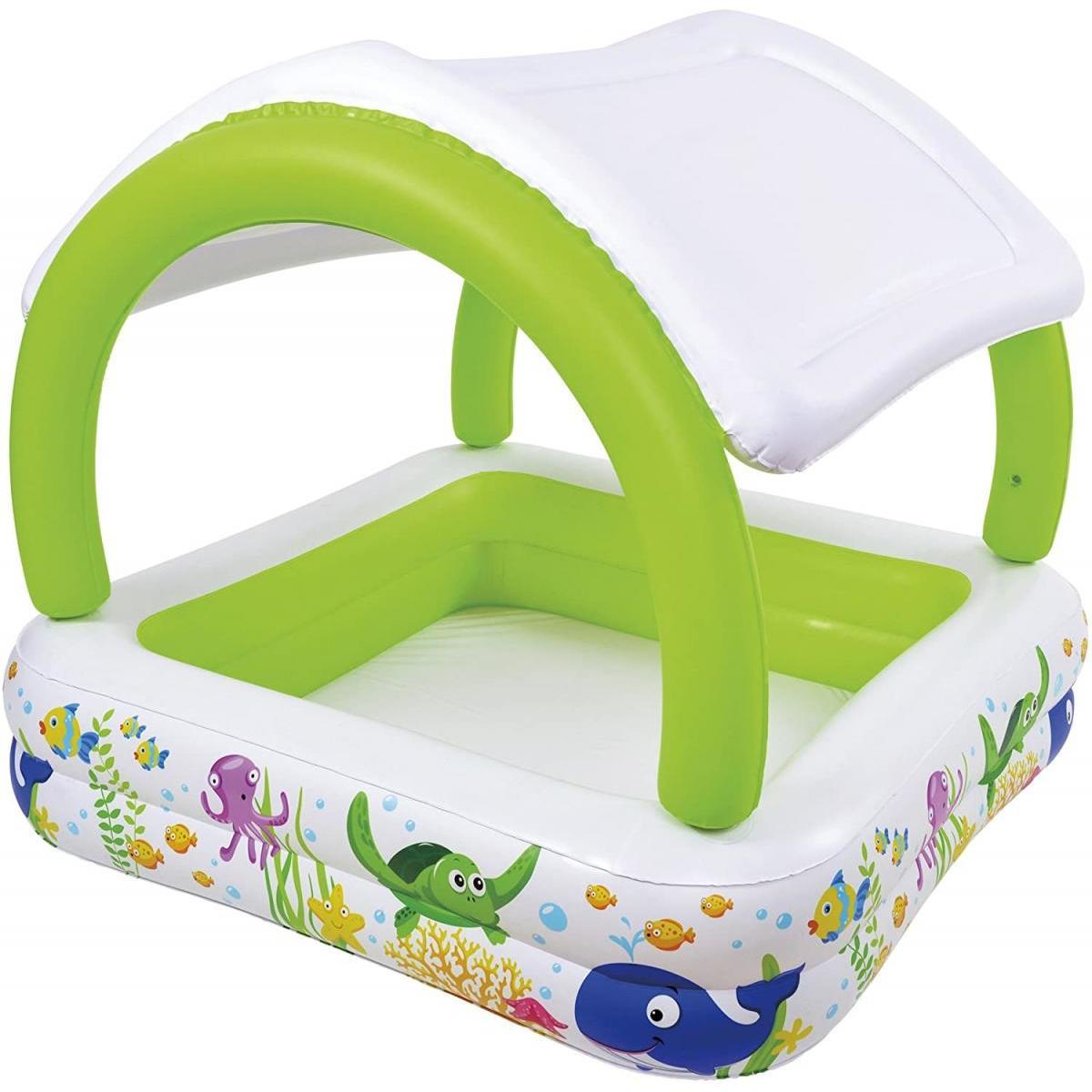 プール 家庭用プール 1.4m 屋根付き 日よけ 子供用 ファミリープール 人気 水遊び 庭 ベランダ サンシェード シーワールドスクエアプール