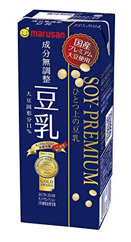 マルサンアイ ソイプレミアム ひとつ上の豆乳 豆乳飲料 成分無調整 200ml 紙パック 1ケース(24本)の商品画像|ナビ