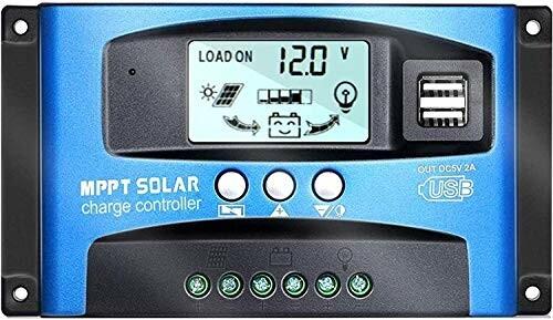 Y&H 100A MPPT ソーラーチャージャーコントローラー12V/24V LCD 太陽光パネルチャージコントローラー、デュアル USB