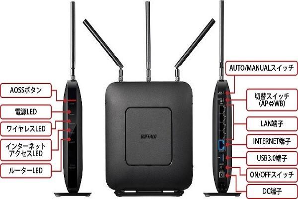 バッファロー IEEE 802.11ac対応Wi-Fiルーター WXR-1750DHPの商品画像|3
