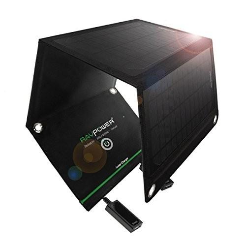 RAVPower ソーラー充電器(チャージャー) 折りたたみ式 ソーラーパネル USB 充電器 スマホ タブレット モバイルバッテリー 対応 (15W) RP-SC02