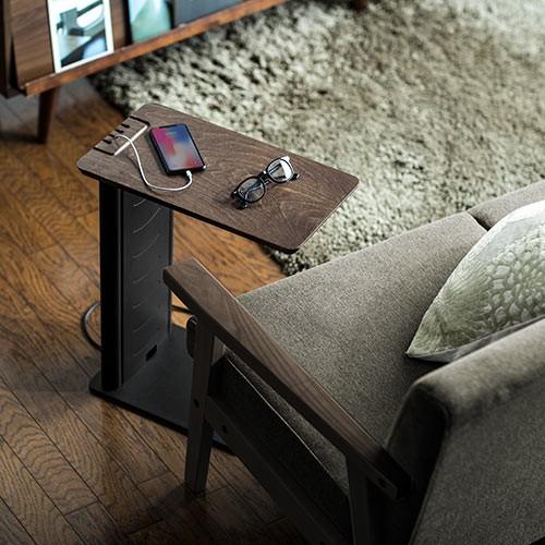 ソファサイドテーブル USB充電器収納タイプ W250×D450×H520mm 200-STN030 ブラック/ホワイト色の商品画像|2