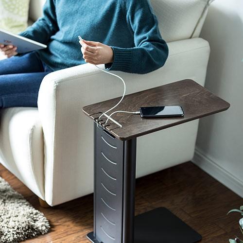 ソファサイドテーブル USB充電器収納タイプ W250×D450×H520mm 200-STN030 ブラック/ホワイト色の商品画像|3