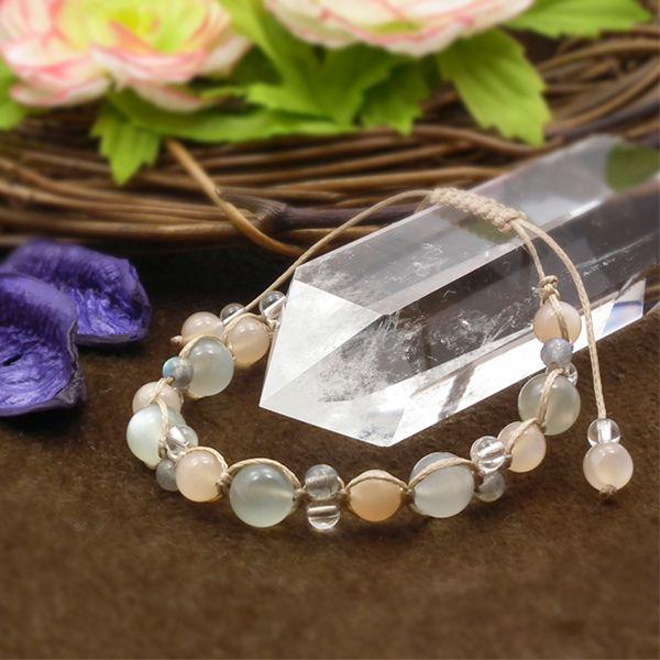 天然石 ブレスレット ムーンストーン オレンジムーンストーン ラブラドライト 水晶 パワーストーン 編み込みブレスレット