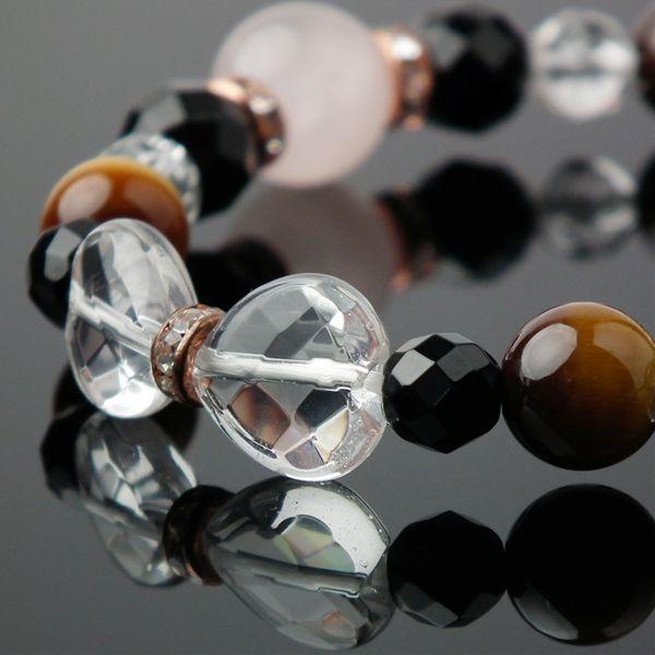 天然石 ブレスレット ローズクォーツ タイガーアイ オニキス 水晶 天然石 パワーストーン ブレスレット