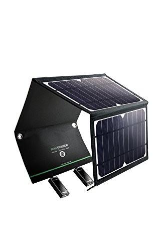 RAVPower ソーラーチャージャー ソーラー充電器 16W USB 2ポート 折りたたみ iPhone/Android各種対応 アウトドア 防災