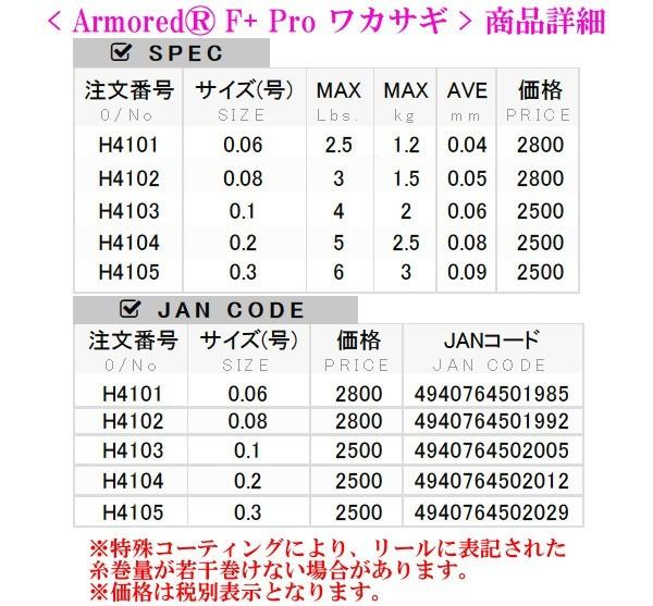 �F+��0_デュエルアーマードF+プロ(armoredF+Pro)ワカサギH41040.2号