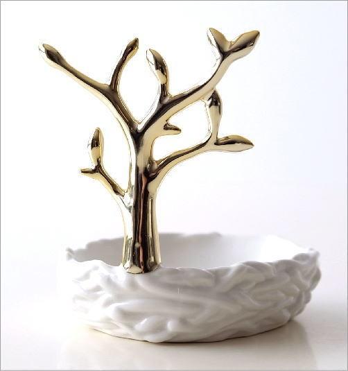 陶器のソープディッシュ&リングホルダー ツリー(3)