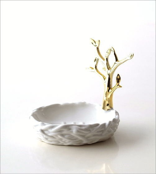 陶器のソープディッシュ&リングホルダー ツリー(4)