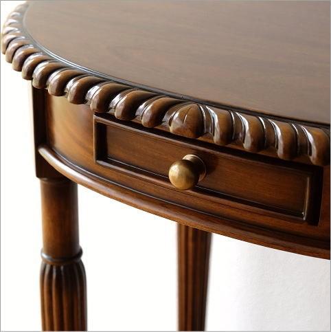 マホガニーオーバルテーブル 1ドロアー(3)
