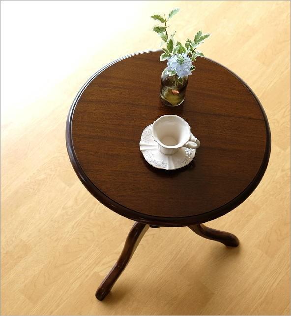 想像以上の質感と高級感 マホガニーラウンドテーブル