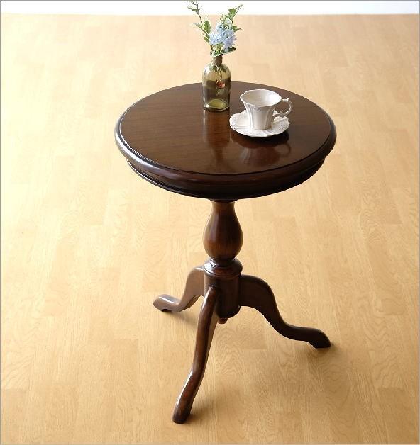マホガニー材ラウンドテーブル コーヒーテーブル