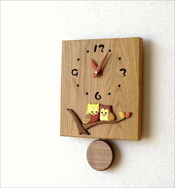 木の振り子時計 スクエア(1)