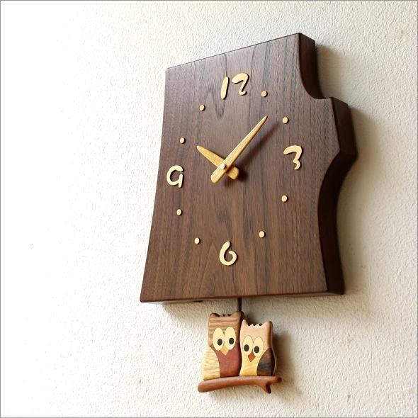木の振り子時計 フクロウ(1)