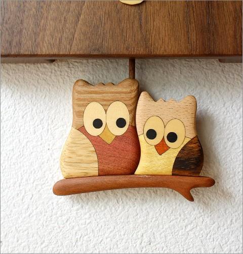 木の振り子時計 フクロウ(3)